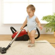 baby cleaning carpet