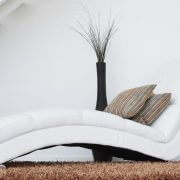 white couch on shaggy carpet